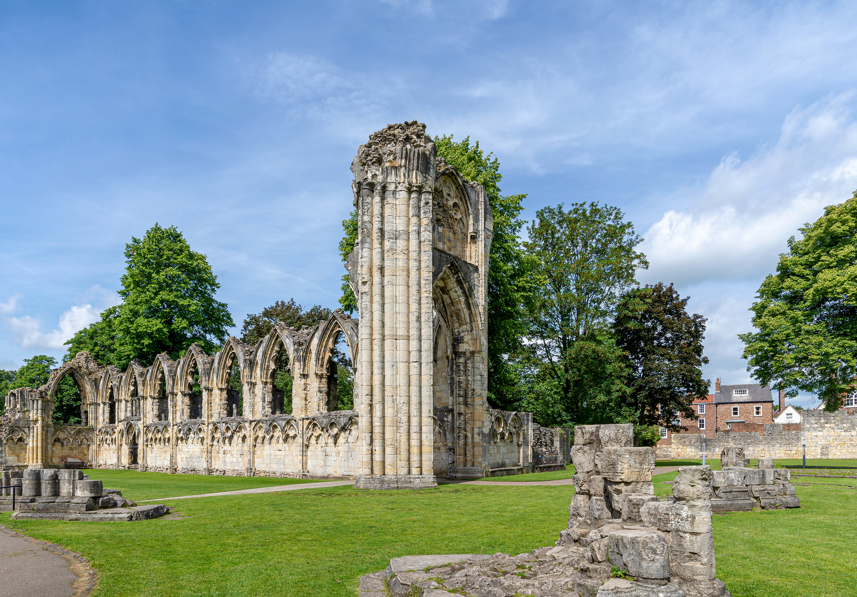 The ancient ruins of St Marys Abbey in York